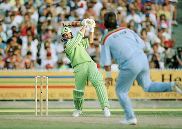 Imran Khan wallops Ian Botham for a six during the 1992 World Cup