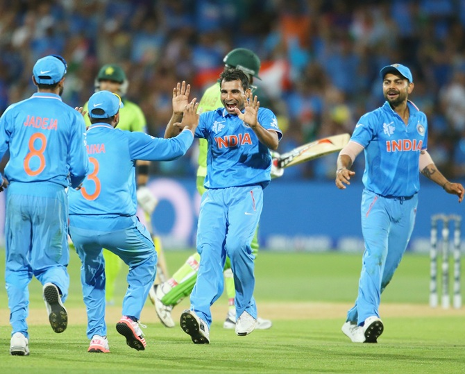 Mohammad Shami who gave India the first breakthrough.  Photograph: Scott Barbour/Getty Images