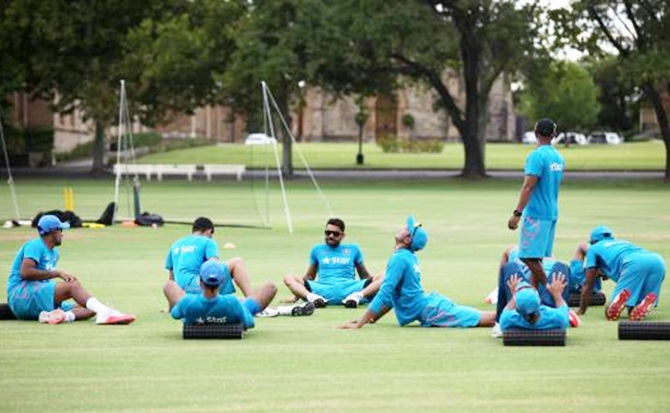 Indian team warm ups during the practice session