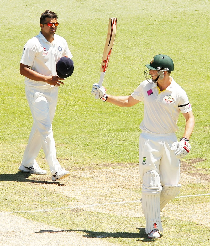Shaun Marsh of Australia celebrates scoring his half century