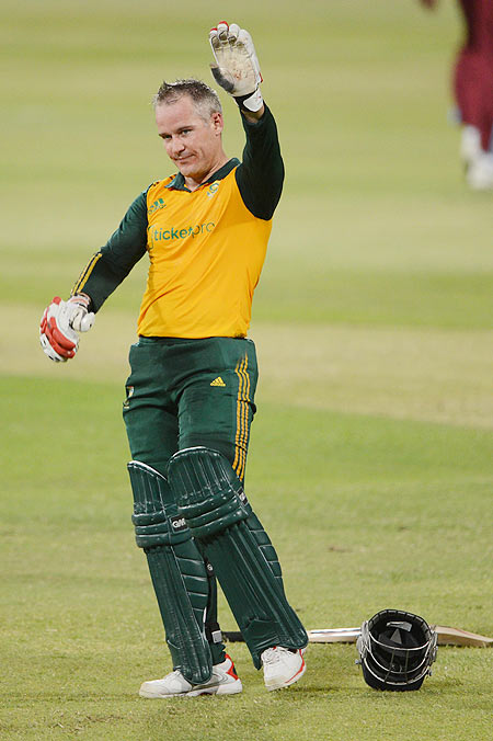 Morne van Wyk of South Africa celebrates his century during the 3rd T20 International against West Indies at Sahara Stadium Kingsmead in Durban on Wednesday