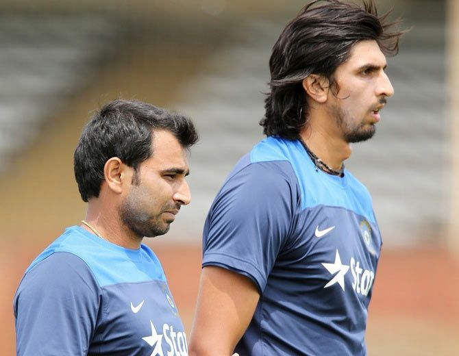 India pacers Mohammed Shami and Ishant Sharma during a training session