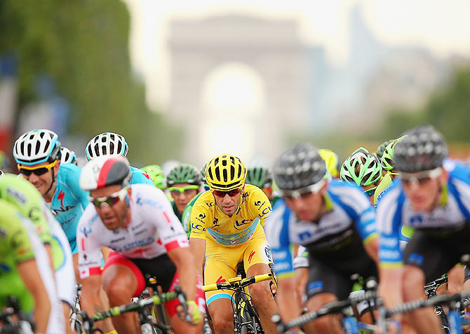 Italy and Astana Pro Team's Vincenzo Nibali in action during the twenty first stage of the 2014 Tour de France, a 138km stage from Evry into the Champs-Elysees