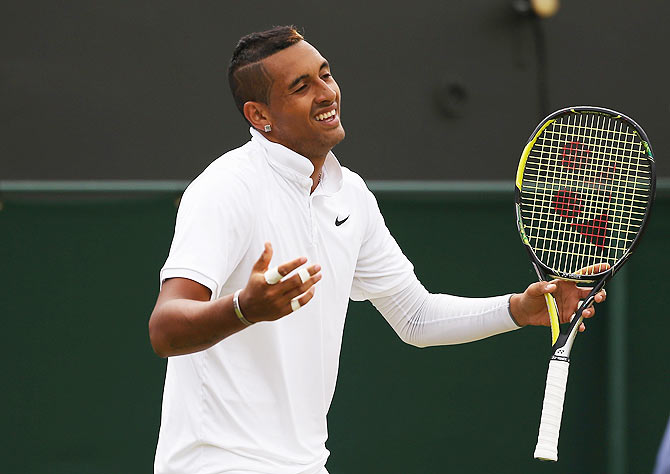 Australia's Nick Kyrgios reacts in his fourth round match against France's Richard Gasquet on Monday