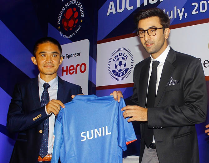 Sunil Chhetri (left) with actor and Mumbai City FC owner Ranbir Kapoor at the Indian Super League Player Auction in Mumbai on Friday