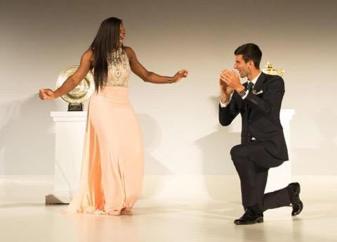 Serena Williams and Novak Djokovic dance at the Wimbledon Champions dinner on Sunday