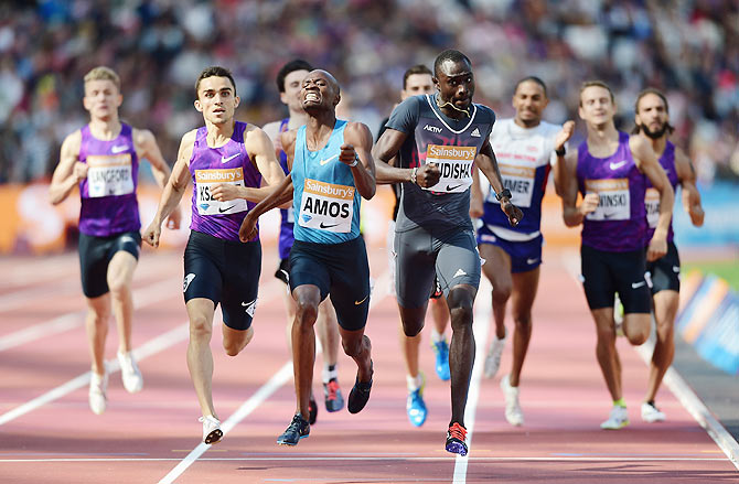 Nijel Amos of Botswana (centre, left) wins the Mens 800m ahead of David Rudisha of Kenya (centre, right) during day two of the Sainsbury's Anniversary Games at The Stadium at Queen Elizabeth Olympic Park in London on Saturday