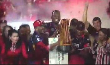 A video grab of Trinidad and Tobago Red Steel players celebrating with the Caribbean Premier League trophy on Sunday