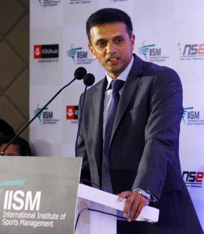 Former India captain Rahul Dravid speaks at the fifth Convocation Ceremony of the International Institute of Sports Management in 2015
