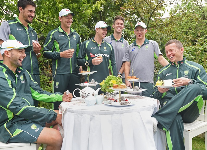 From left, Nathan Lyon, Mitchell Starc, Josh Hazlewood, Steve Smith, Mitchell Marsh,   Chris Rodgers and Peter Siddle
