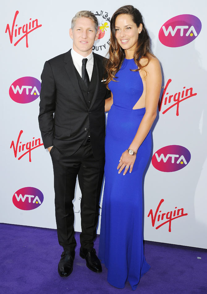 Serbia tennis star Ana Ivanovic with boyfriend and German footballer Bastian Schweinsteiger at the WTA-hosted pre-Wimbledon party at the roof gardens in Kensington on June 25
