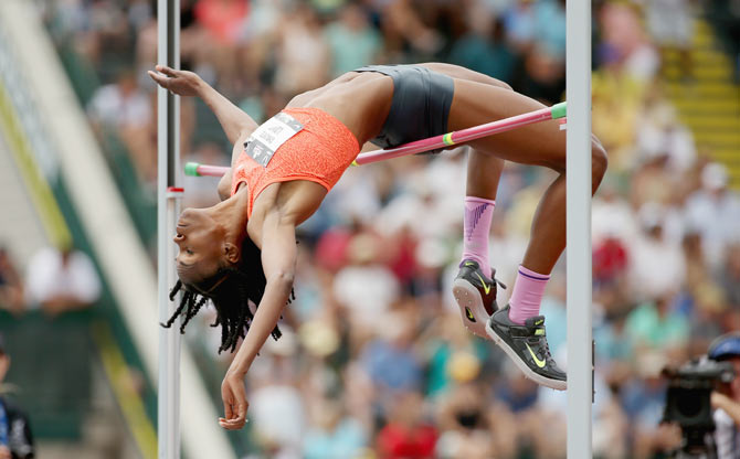 Chaunte Lowe clears the bar during her victory in the Womens High Jump on Day 4 of the 2015 USA Outdoor Track & Field Championships at Hayward Field in Eugene, Oregon on June 28