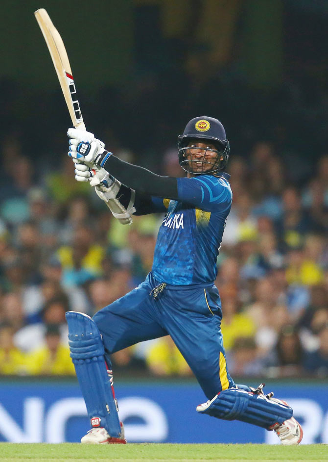 Sri Lanka's Kumar Sangakkara plays a shot on the off-side
