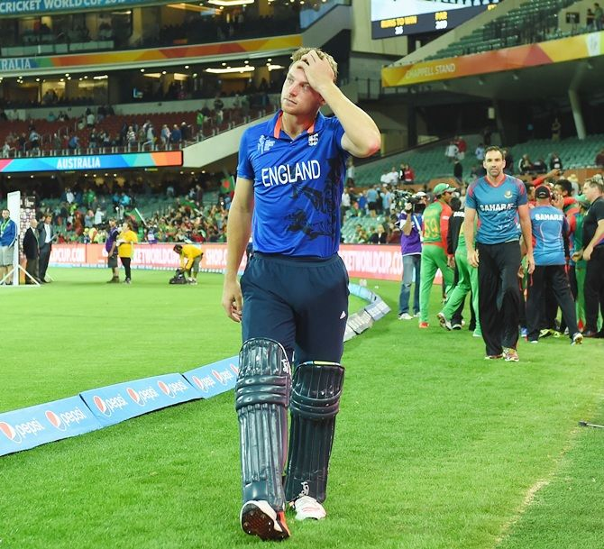England vice captain Jos Buttler looks dejected