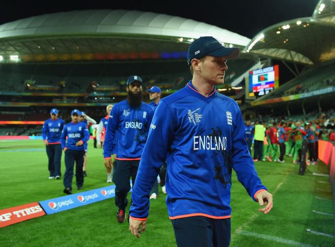 England captain Eoin Morgan looks dejected as he leaves the field
