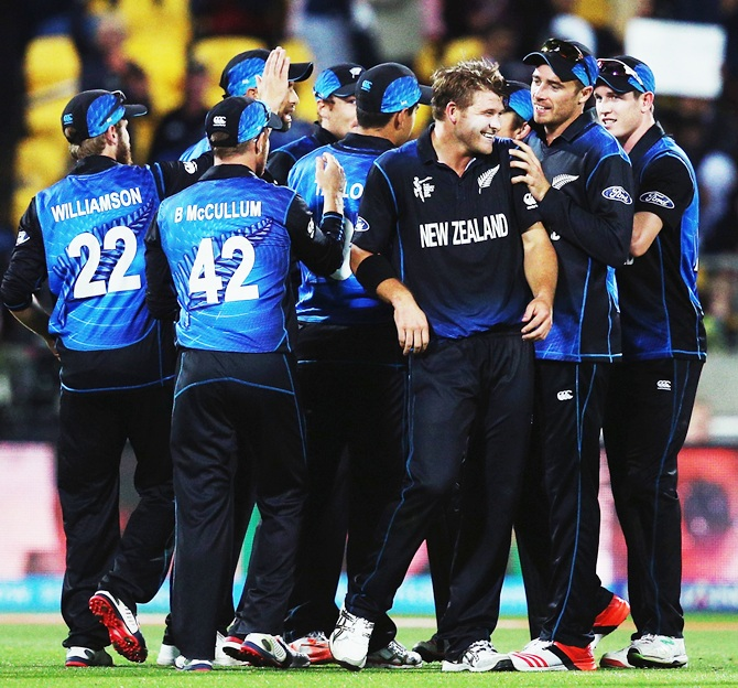 The New Zealand team during its game against the West Indies in last year's World Cup at Wellington. Photograph: Hannah Peters/Getty Images
