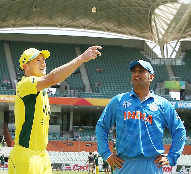 George Bailey of Australia and Mahendra Singh Dhoni