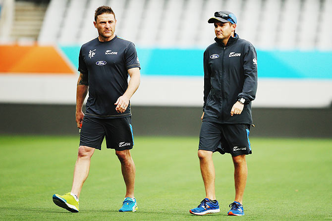 New Zealand captain Brendon McCullum with coach Mike Hesson at Eden Park