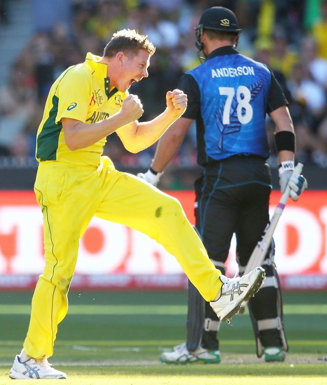 James Faulkner celebrates getting Corey Anderson's wicket. Photograph: Quinn Rooney/Getty Images