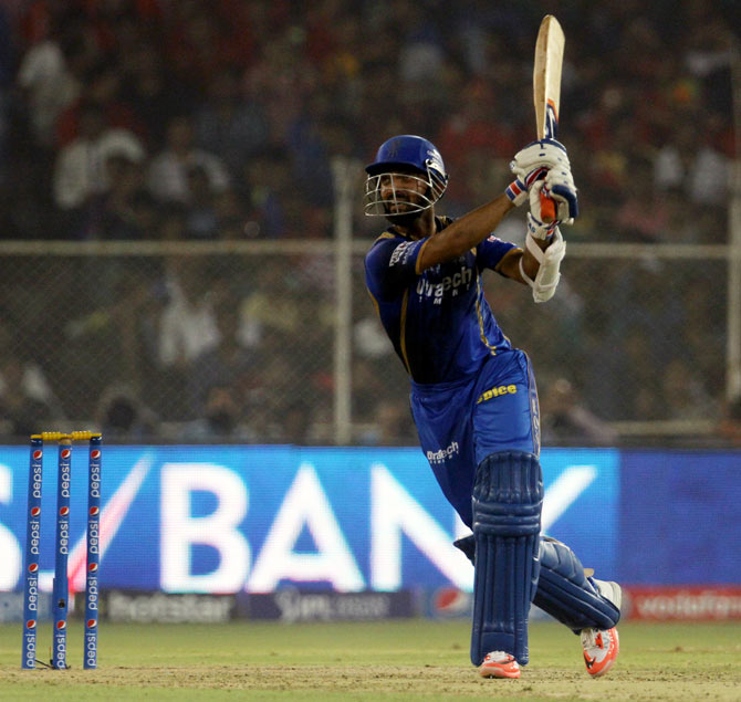 Ajinkya Rahane in action for the Rajasthan Royals in the IPL in 2015.