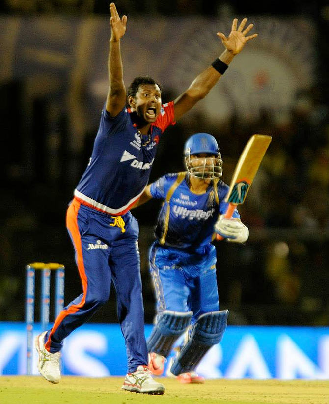 Angelo Mathews, playing for the Delhi Daredevils, appeals unsuccessfully for Ajinkya Rahane's wicket during an IPL game in 2015. Photograph: Delhi Daredevils/Facebook