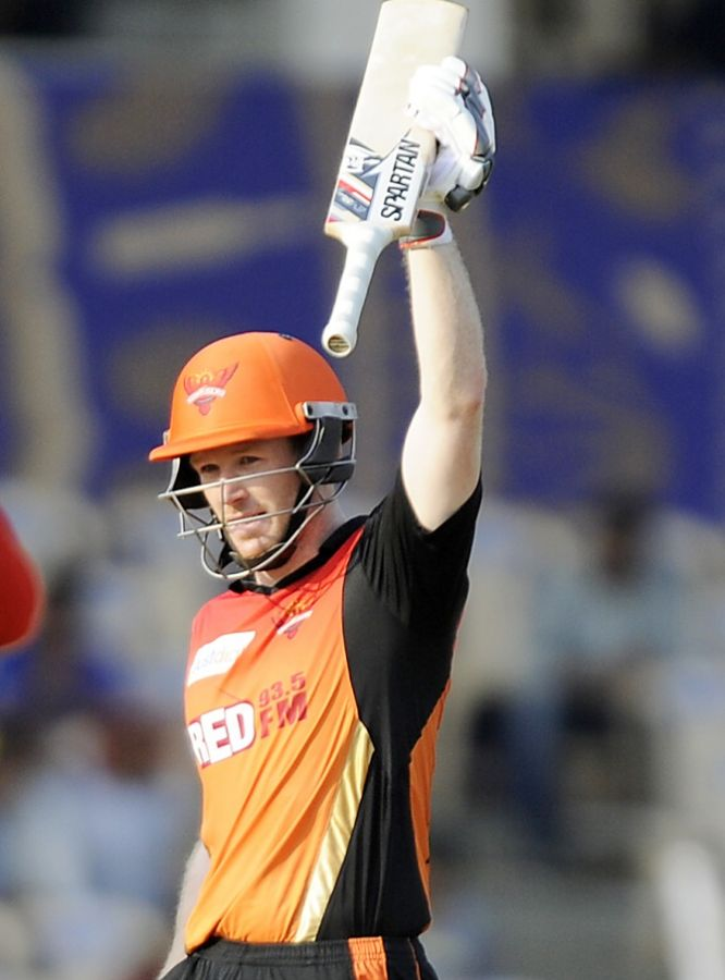 Eoin Morgan celebrates his half-century for the Sunrisers Hyderabad against the Rajasthan Royals, May 7, 2015. Photograph: BCCI