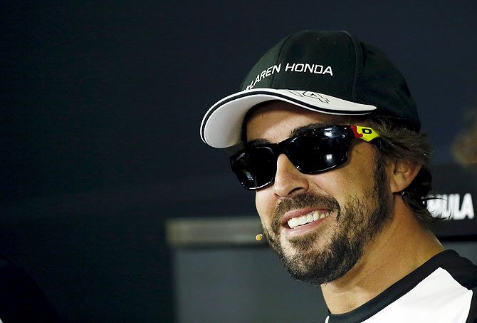 McLaren's Formula One driver Fernando Alonso of Spain attends a news conference ahead of the Spanish Grand Prix at the Circuit de Barcelona-Catalunya racetrack in Montmelo, near Barcelona, on Thursday.