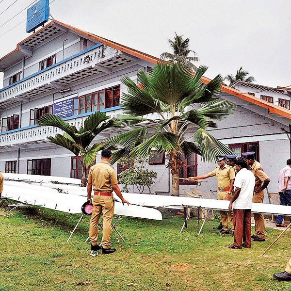 Police inspecting Sports Authority of India centre in Alappuzha, where a student died on Thursday, after she took poison along with three other students