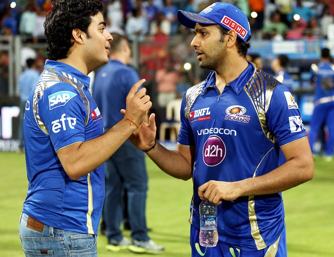 Akash Ambani and Mumbai Indians captain Rohit Sharma
