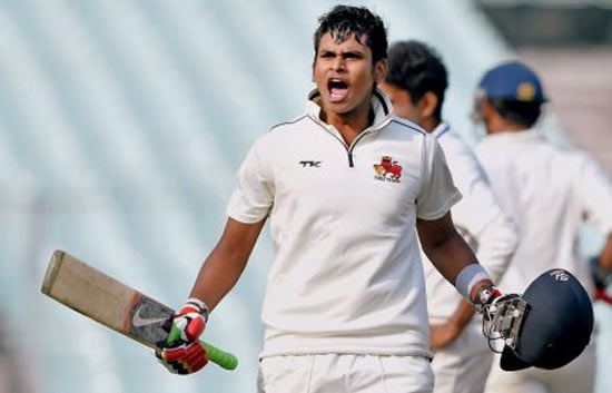 Shreyas Iyer celebrates after scoring a ton for Mumbai in a Ranji match
