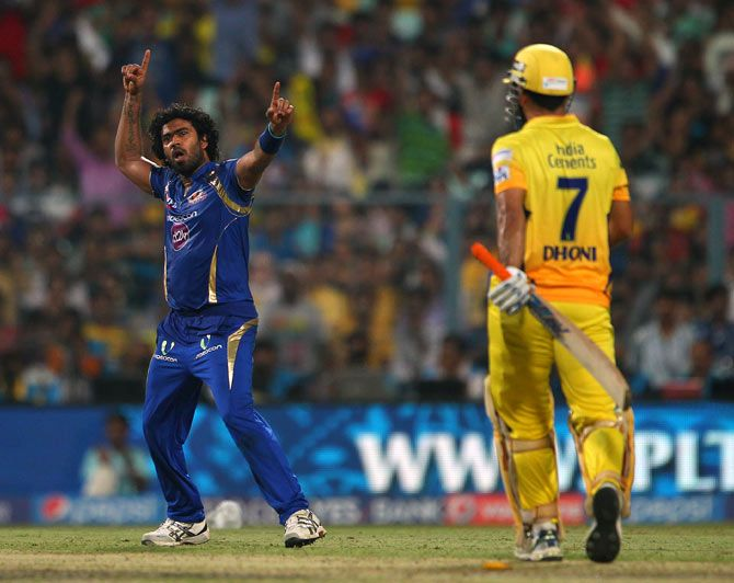Lasith Malinga celebrates Mahendra Singh Dhoni's wicket in the IPL 8 final, May 26, 2015. Photograph: BCCI