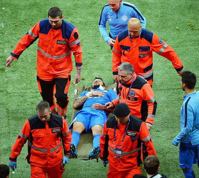 Dnipro's Matheus is a stretchered out after an on-field injury