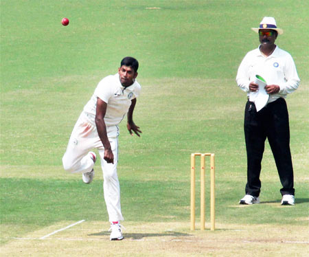 Vidarbha's Akshay Wakhare in action during a Ranji Trophy match against Maharashtra at Vidarbha Cricket Association (VCA) Stadium in Nagpur on Monday