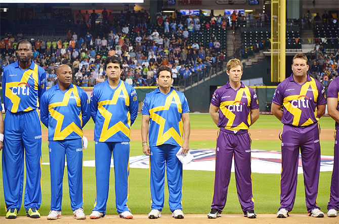 Curtly Ambrose, Brian Lara, Sourav Ganguly, Sachin Tendulkar, Jonty Rhodes and Jacques Kallis before the commencement of Game 2 of Cricket All-Stars in Houston, Texas