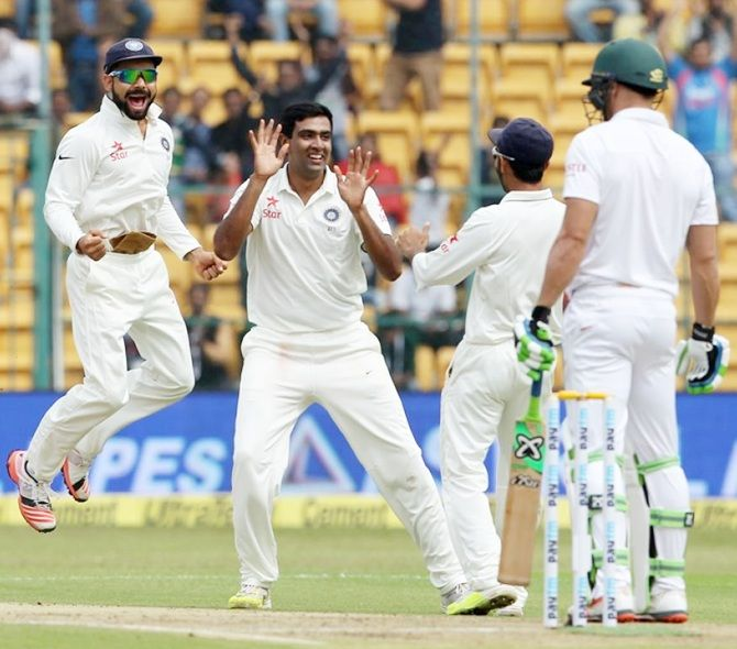 India's Ravichandran Ashwin celebrates