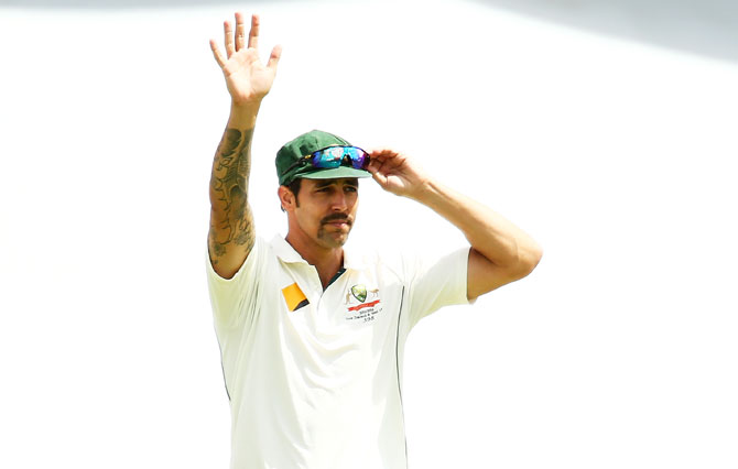 Australia's Mitchell Johnson waves to family and friends on Day 5 of the second Test match between Australia and New Zealand at WACA in Perth on Tuesday