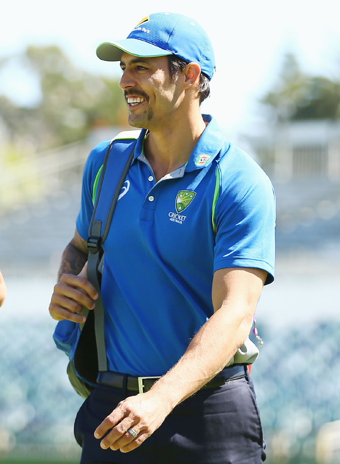 Australia's Mitchell Johnson arrives at the WACA before announcing his retirement on Day 5 of the second Test match against New Zealand on Tuesday