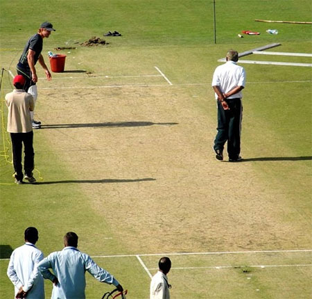 Pitch inspection at the Feroz Shah Kotla stadium