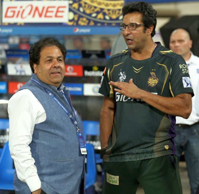 Rajeev Shukla talks to Wasim Akram during an IPL game (Image used for representational purposes)