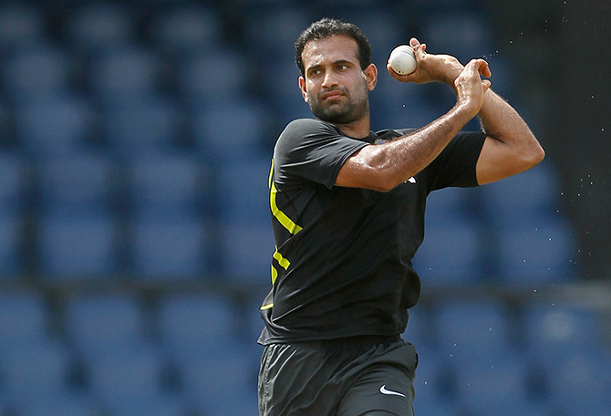 India's Irfan Pathan bowls during a practice session