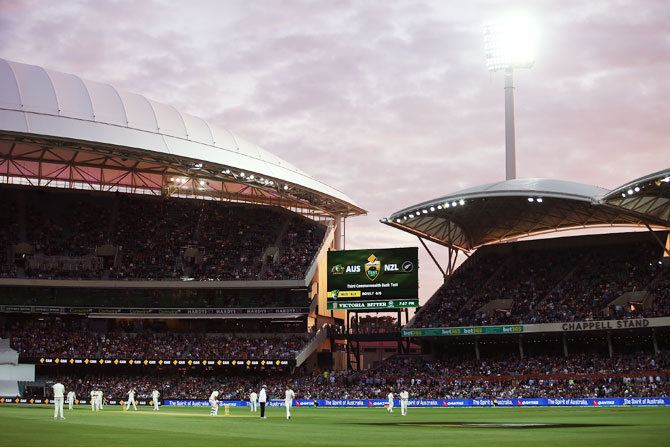 A general view of play under lights on the first day of third Test, between Australia and New Zealand, the first ever day-night Test, at Adelaide Oval on Friday