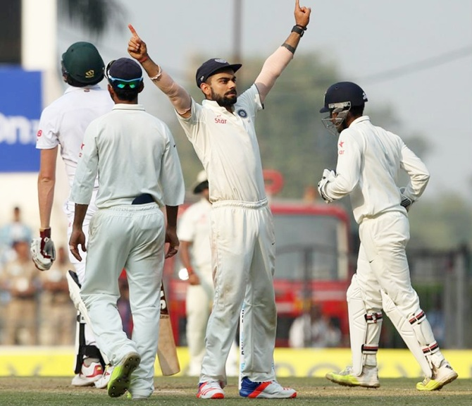 India's Captain Virat Kohli celebrates victory in the third Test against South Africa at Nagpur. Photograph: BCCI