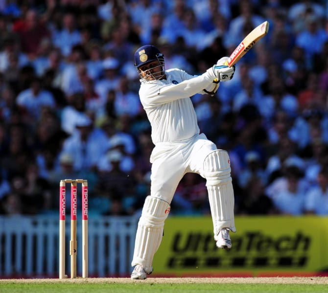 FILE IMAGE: Virender Sehwag hits out. Photograph: Getty Images