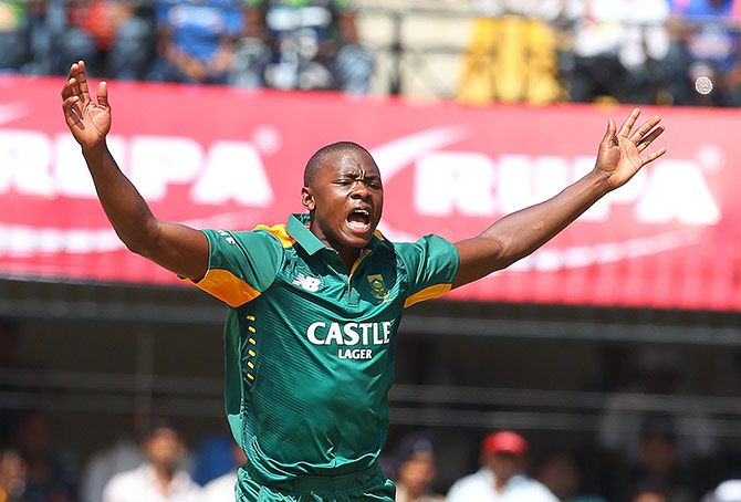 South Africa's Kagiso Rabada celebrates after taking an Indian wicket. Photograph: BCCI