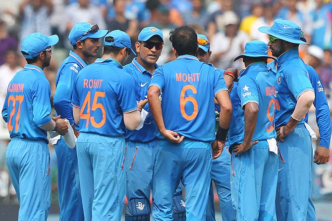 The Indian team during the fifth ODI with South Africa in Mumbai.
