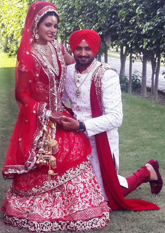 Harbhajan Singh with his wife Geeta Basra.