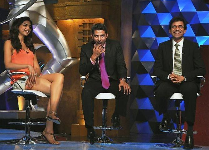 Harsha Bhogle, left, during the IPL show Extra Innings on Sony with Ajay Jadeja and Deepika Padukone.