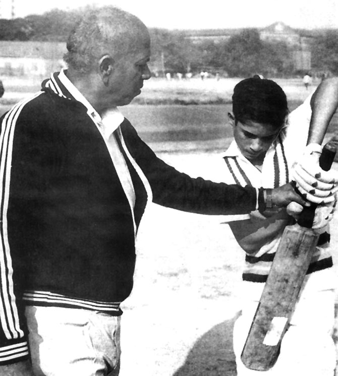 Sachin Tendulkar, right, gets batting lessons from his coach Ramakant Achrekar. Photograph: Kind courtesy Roli Books