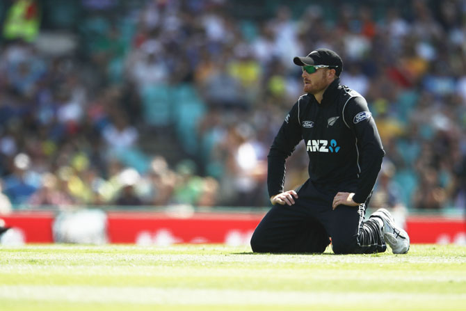 New Zealand's Martin Guptill shows his frustration after a near chance goes abegging in the field during the first One Day International at Sydney Cricket Ground on Sunday