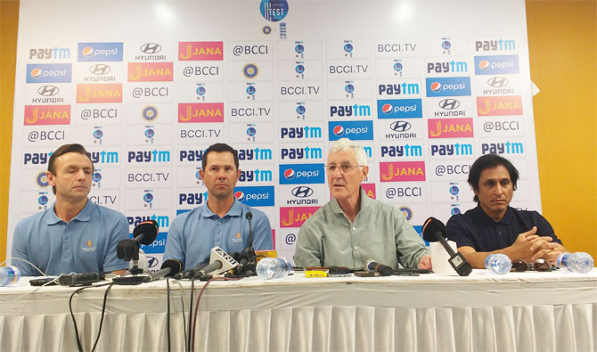 The MCC World Committee members John Stephenson, Ricky Ponting, Mike Brearley and Ramiz Raja at the Wankhede stadium in Mumbai on Wednesday